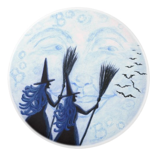 Man in the moon and witches knobs ceramic knob