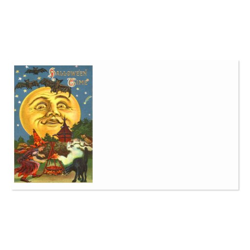 Man In The Moon Black Cat Witch Bat Full Moon Business Card Templates