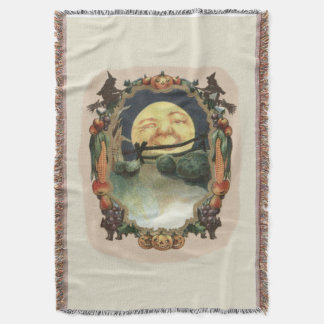 Man In The Moon Jack O Lantern Witch Throw Blanket