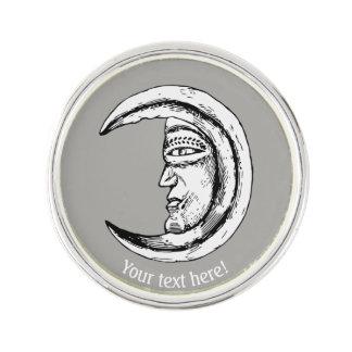 Man in the moon lapel pin