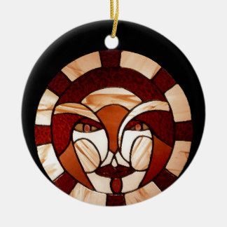 Man in the Moon Stained Glass Black Night 2 Ceramic Ornament