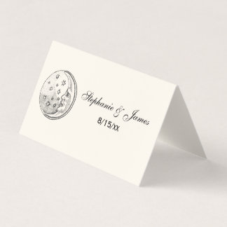 Man In the Moon Stars Escort Card Place Card Ivory