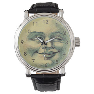 Man in the Moon Watch-Vintage Leather Black Strap Watch