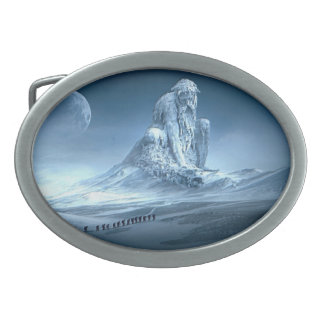 Man in the Mountain Fantasy Sculpture Oval Belt Buckles