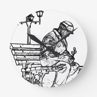 Man in the Park with to flower Man in the park Wallclocks