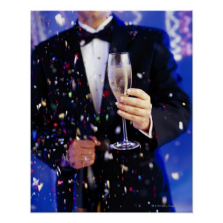 Man in tuxedo at celebration poster