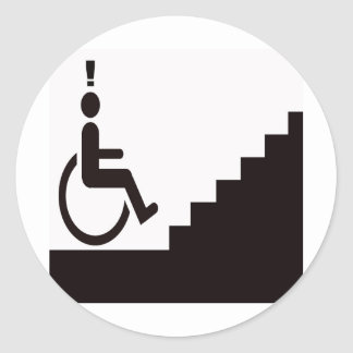 man in wheelchair in front or steps classic round sticker