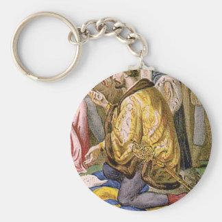 man in yellow kneels keychain