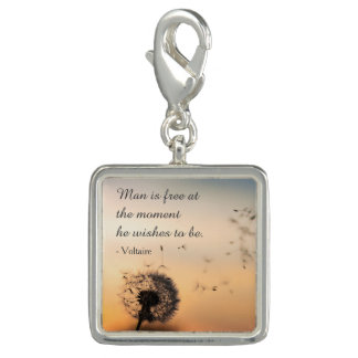 Man is Free Voltaire Quote Charm