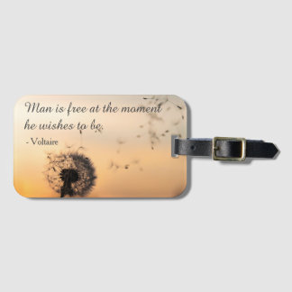 Man is Free Voltaire Quote Luggage Tag