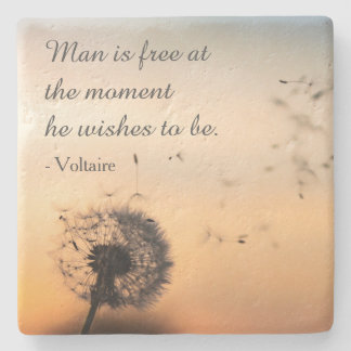 Man is Free Voltaire Quote Stone Coaster