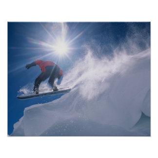 Man jumping off a large cornince on a snowboard poster