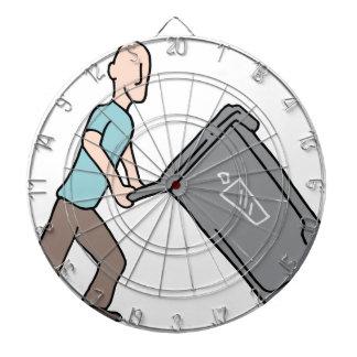 Man moving trash can dartboard with darts