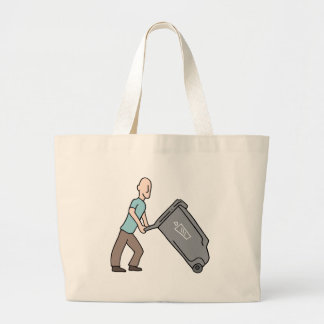 Man moving trash can jumbo tote bag