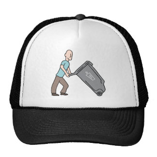 Man moving trash can trucker hat