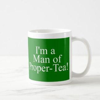 man of proper tea dark green coffee mug