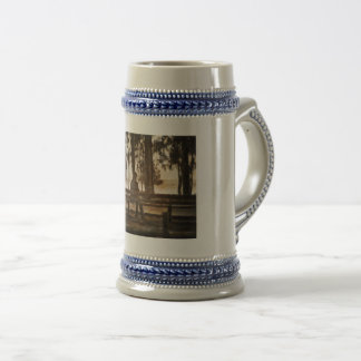 Man on a bench beer stein