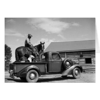 Man on a horse with a dog in a truck card