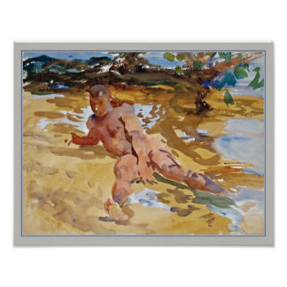 Man on Beach Florida by Sargent Poster