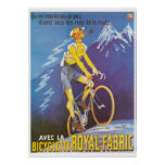 Man on bicycle mountains sports vintage French ads Poster