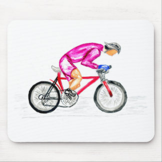 Man on Bicycle Sketch Mouse Pad