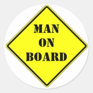 Man on Board Classic Round Sticker