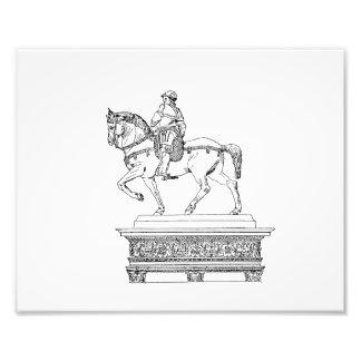 Man on horse vintage jagged animal drawing.png photo