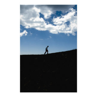 Man on Mountain Silhouette Stationery Paper