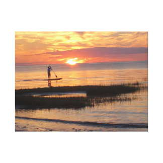 Man on Paddle Board on Cape Cod Beach Canvas Print