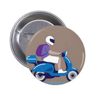Man on Scooter 2 Inch Round Button