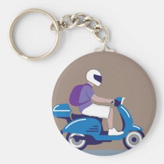 Man on Scooter Basic Round Button Keychain