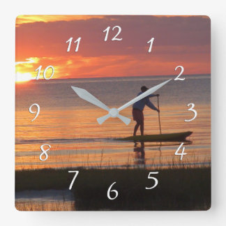 Man on Water Board at Sunset on Cape Cod Beach Square Wall Clock