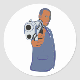 Man pistol one pistol classic round sticker