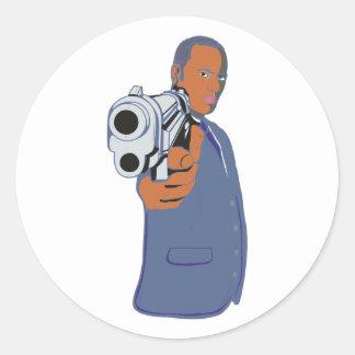 Man pistol one pistol round sticker