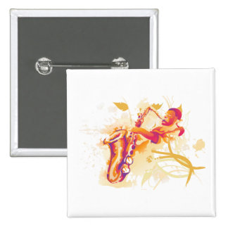 Man Playing Jazzy Saxophone Watercolor Style 2 Inch Square Button