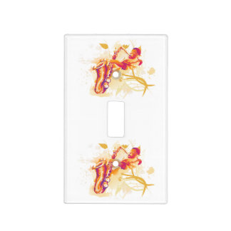 Man Playing Jazzy Saxophone Watercolor Style Light Switch Cover