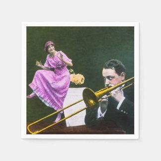 Man plays trombone Flapper  dances on table Paper Napkins