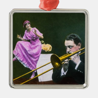 Man plays trombone Flapper  dances on table Silver-Colored Square Ornament