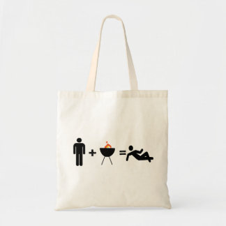 man plus bbq equals chilled tote bag