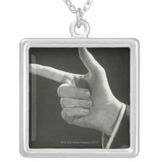 Man Pointing Silver Plated Necklace