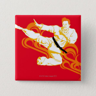 Man practicing martial arts, performing mid air 2 inch square button