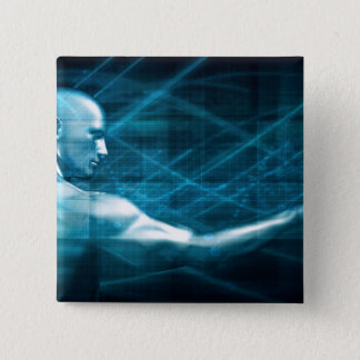 Man Presenting a Concept as a Template Background 2 Inch Square Button