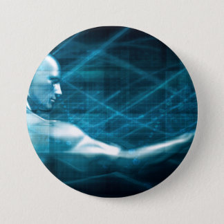 Man Presenting a Concept as a Template Background 3 Inch Round Button