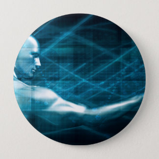 Man Presenting a Concept as a Template Background 4 Inch Round Button