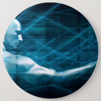Man Presenting a Concept as a Template Background 6 Inch Round Button