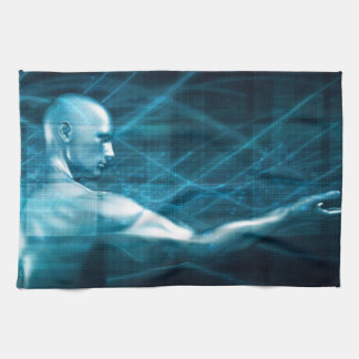 Man Presenting a Concept as a Template Background Kitchen Towel