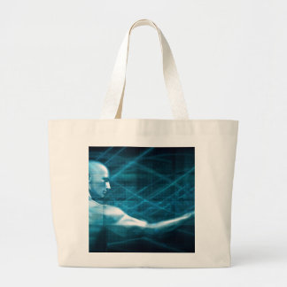 Man Presenting a Concept as a Template Background Large Tote Bag