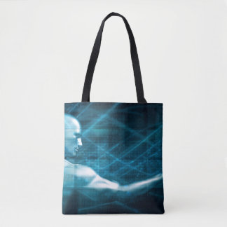 Man Presenting a Concept as a Template Background Tote Bag