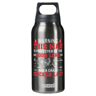 Man Protect Lord And Crazy Chicken Lady Insulated Water Bottle