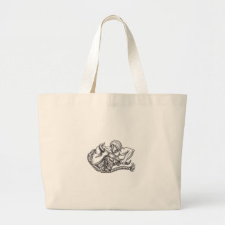 Man Pulling Bull By Horns Tattoo Large Tote Bag